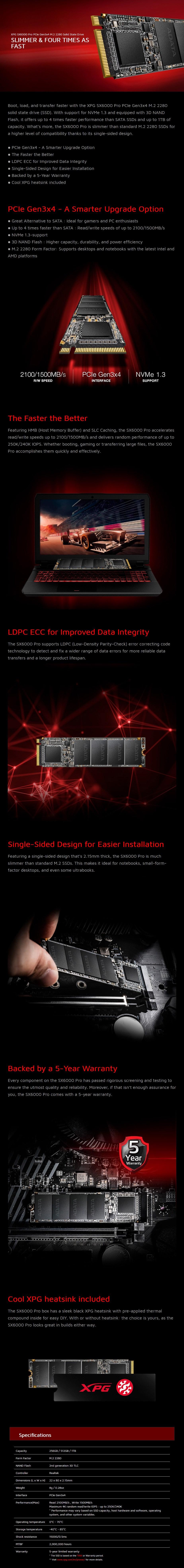 Adata XPG SX6000 Pro 512GB M.2 SSD ASX6000PNP-512GT-C - Overview 1