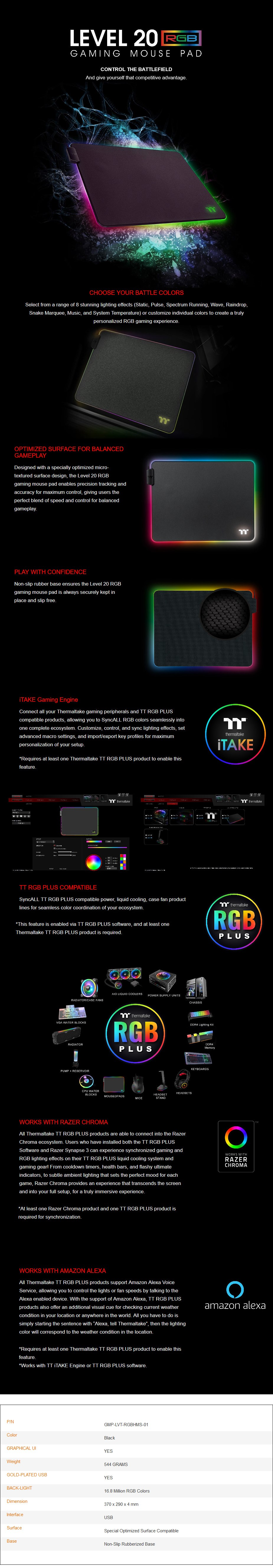 Thermaltake Level 20 RGB Gaming Mouse Pad - Hard Edition - Overview 1