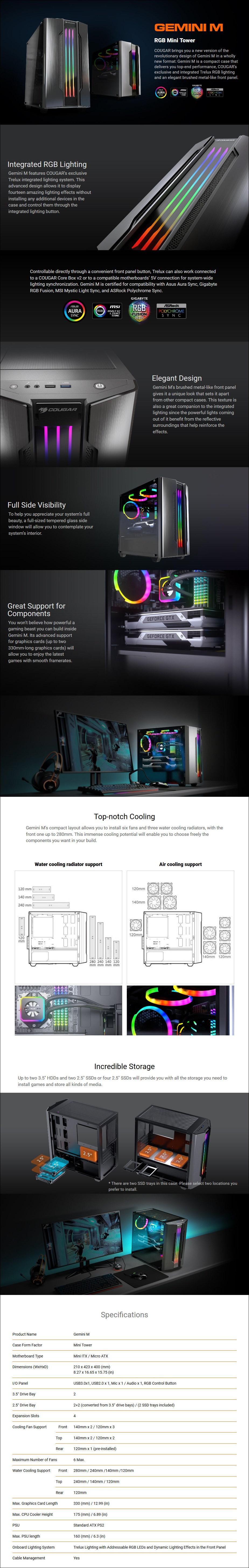 Cougar Gemini M RGB Tempered Glass Micro-ATX Case - Overview 1