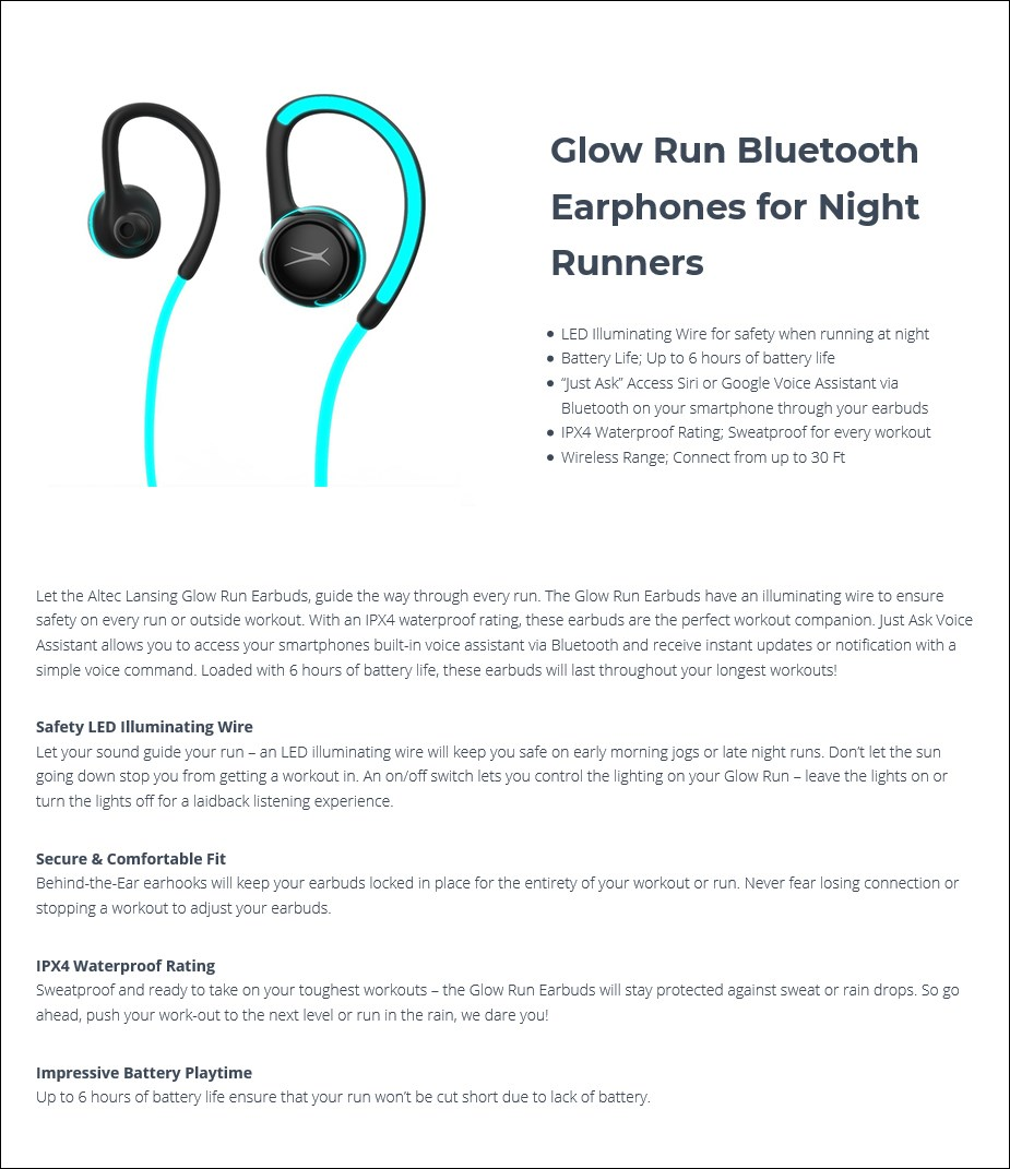Altec Lansing Glow Run LED Bluetooth Earphones - Overview 1