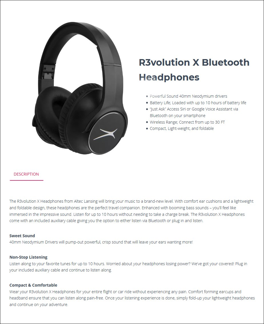 Altec Lansing R3volution X Bluetooth Headphones - MZX009-BLK