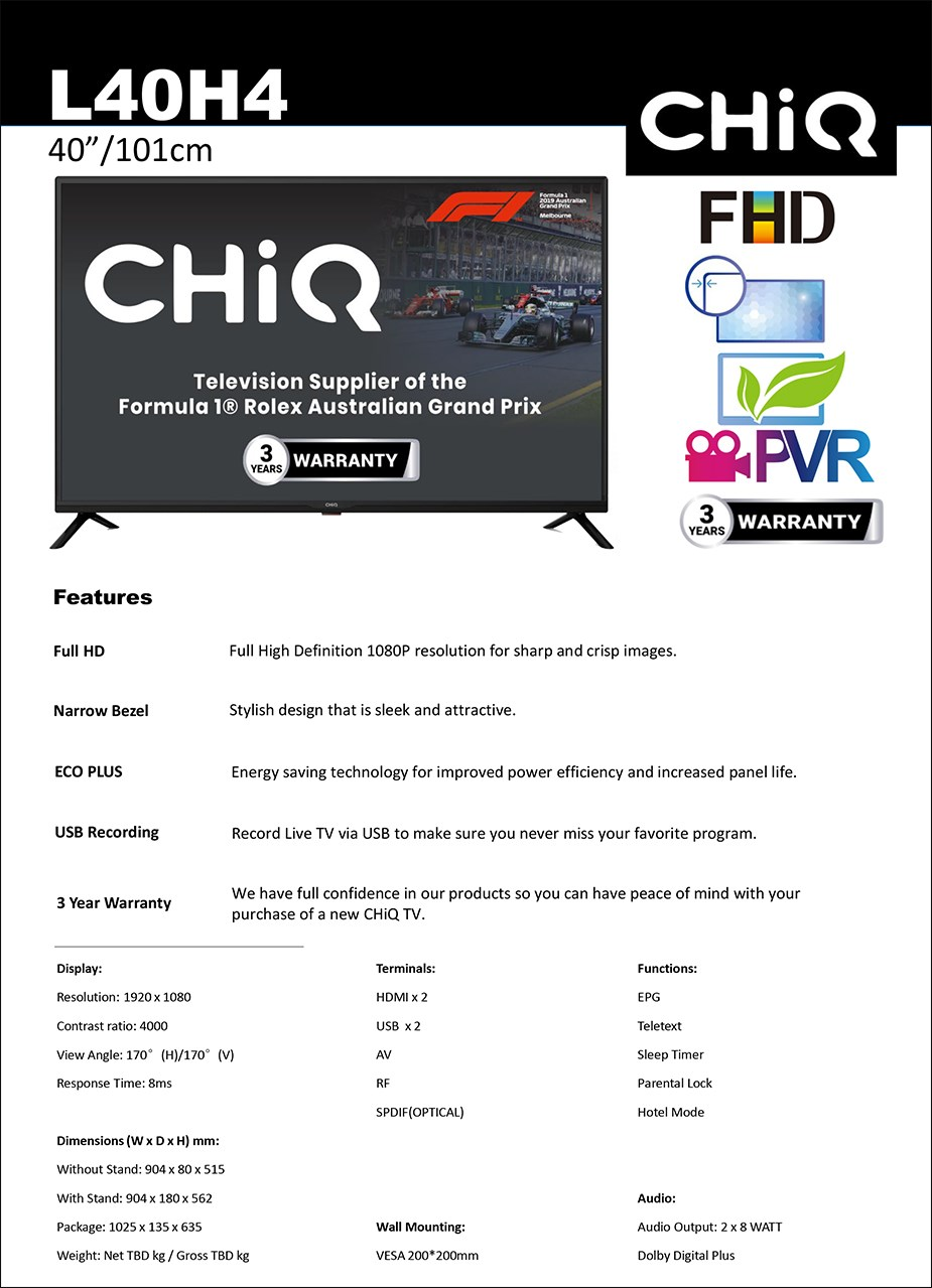 "CHiQ H4 Series L40H4 40"" Full HD TV - Overview 2"