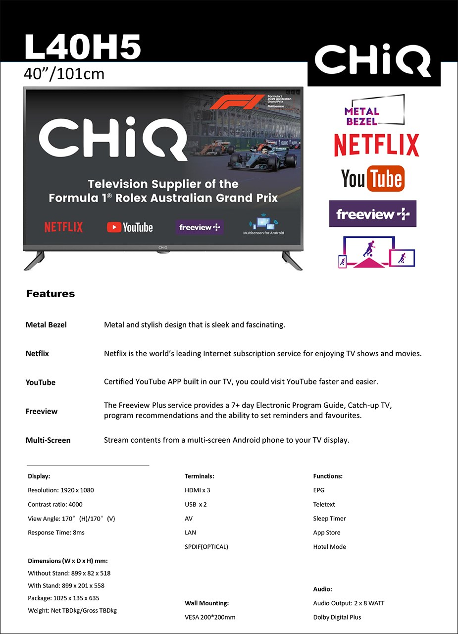 "CHiQ H5 Series L40H5 40"" Full HD TV - Overview 2"