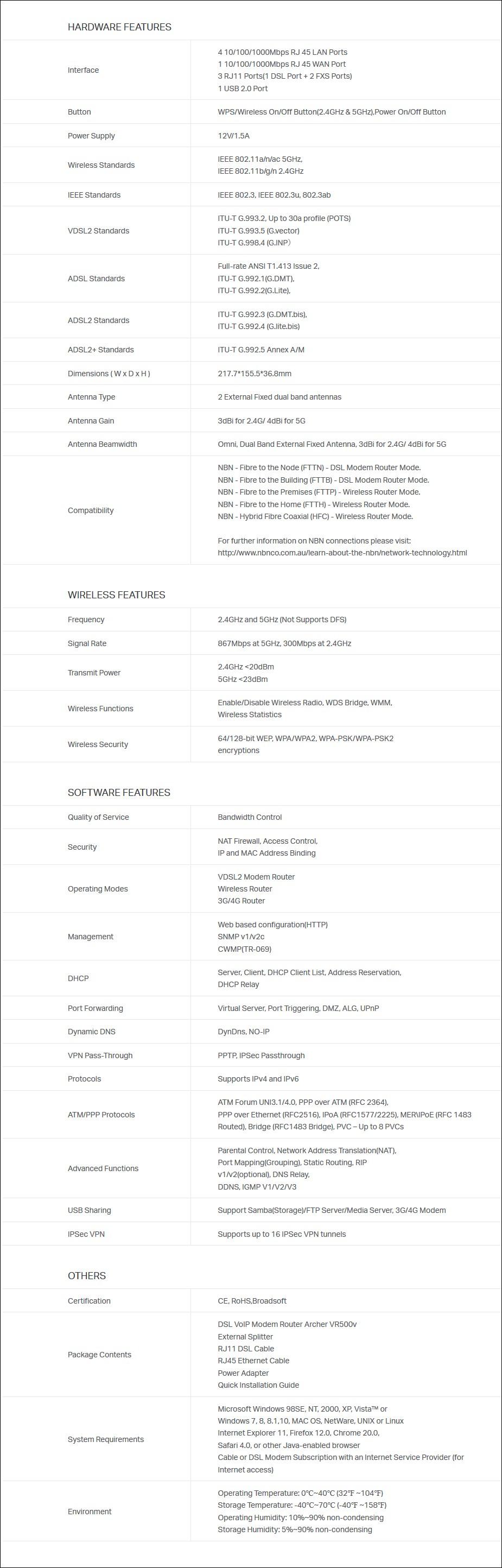 TP-Link Archer VR500v AC1200 Dual Band VoIP VDSL/ADSL Modem Router - Overview 2