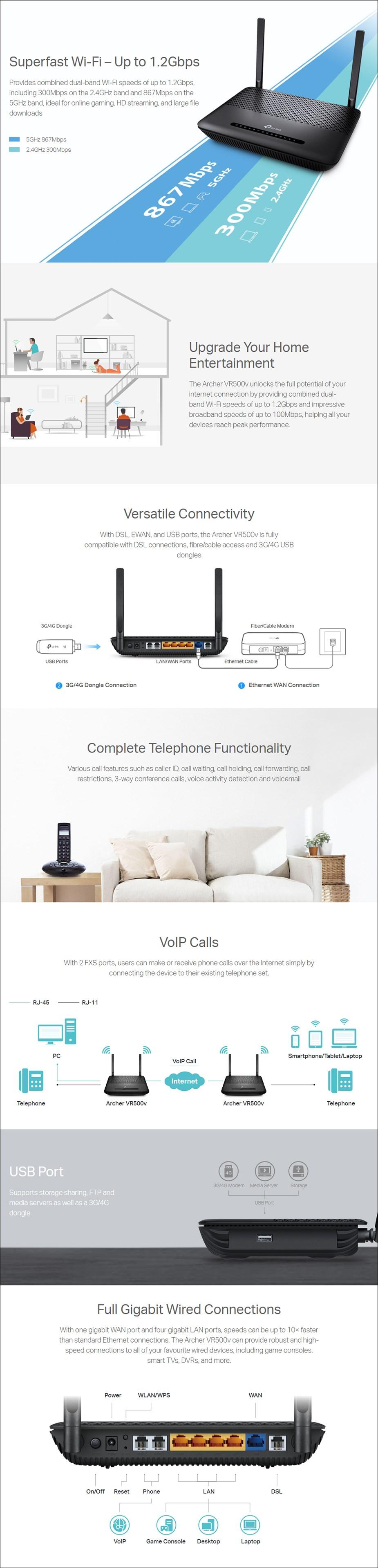 TP-Link Archer VR500v AC1200 Dual Band VoIP VDSL/ADSL Modem Router - Overview 1