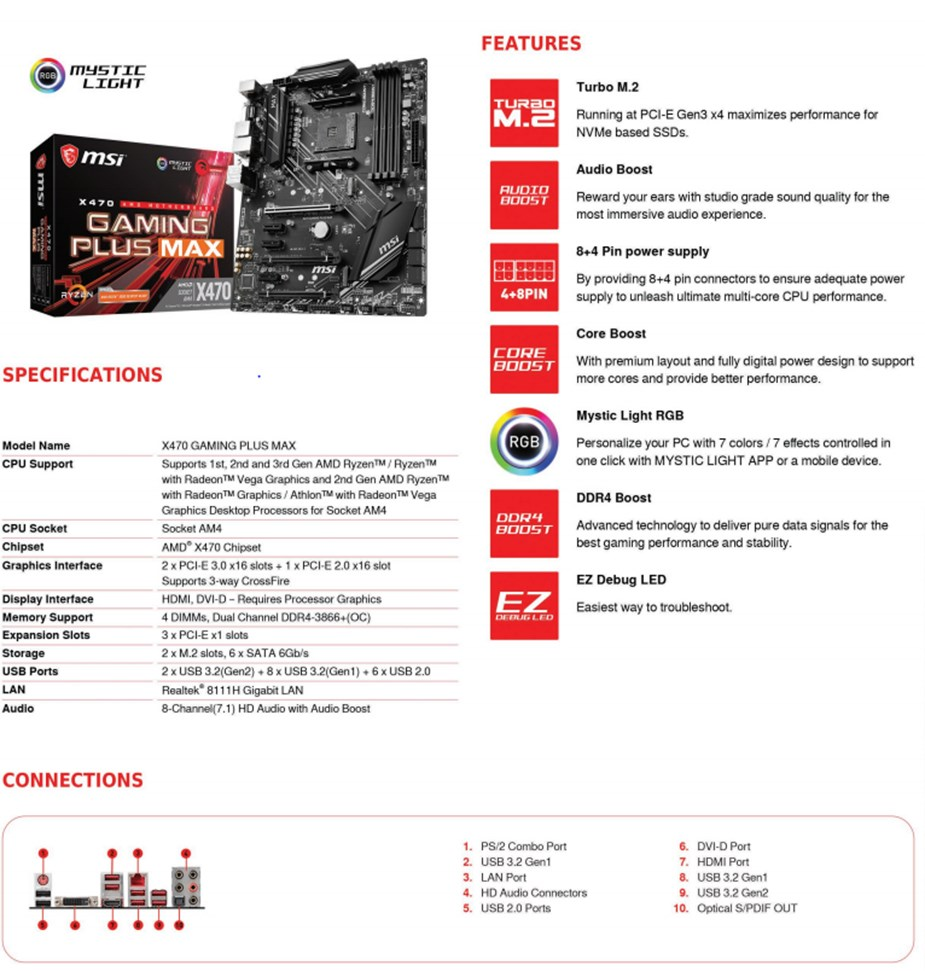 MSI X470 GAMING PLUS MAX AM4 Motherboard - X470 GAMING PLUS