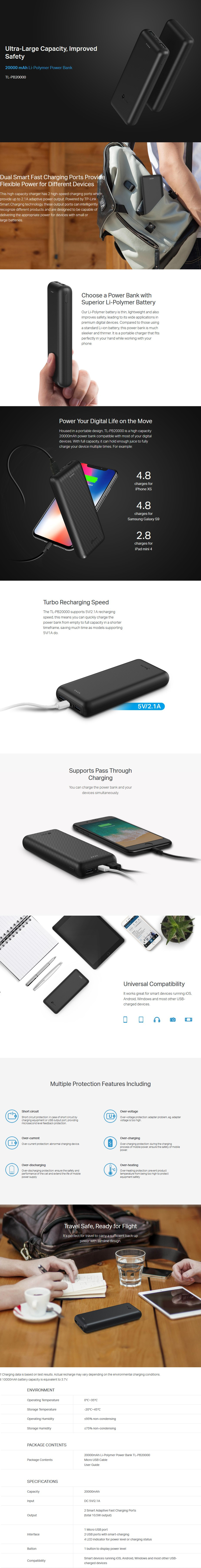 TP-Link TL-PB20000 20000mAh USB Power Bank - Desktop Overview 1