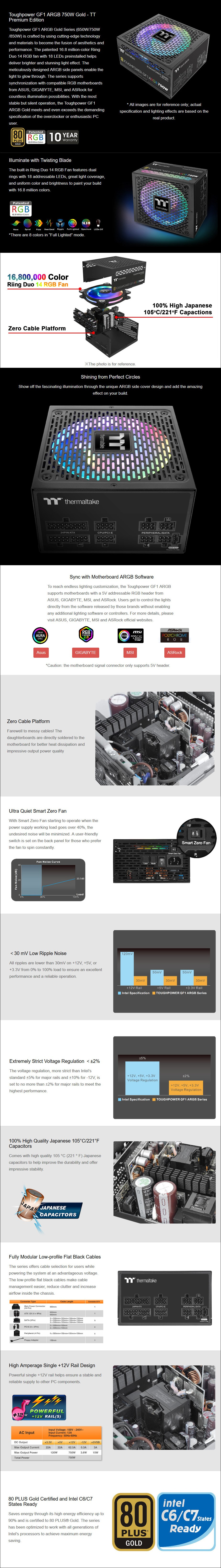 Thermaltake Toughpower GF1 ARGB 750W 80+ Gold Fully Modular Power Supply - Overview 1