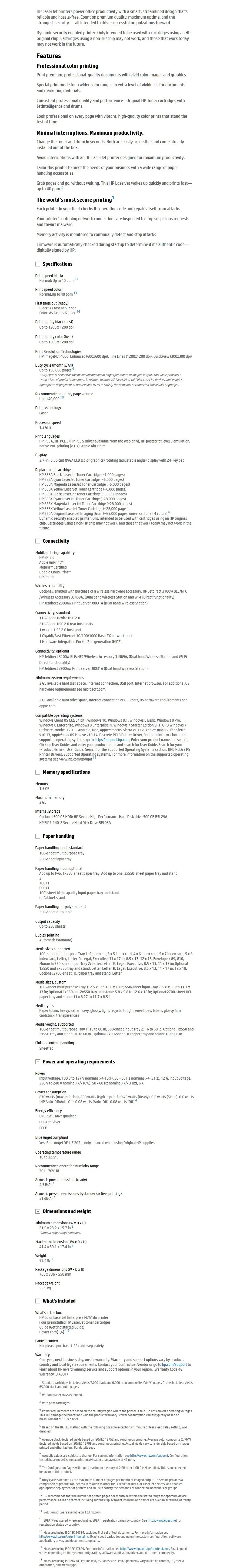 HP LaserJet Enterprise M751dn Colour Wireless Laser Printer - Desktop Overview 1