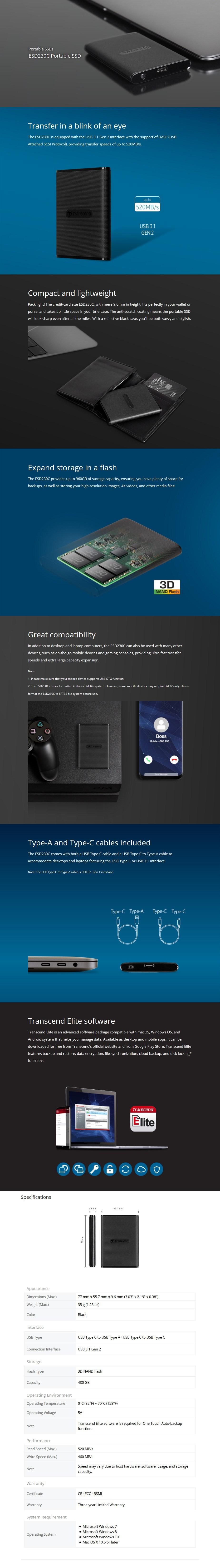 Transcend ESD230C 480GB External Portable USB 3.1 Type C SSD - Desktop Overview 1