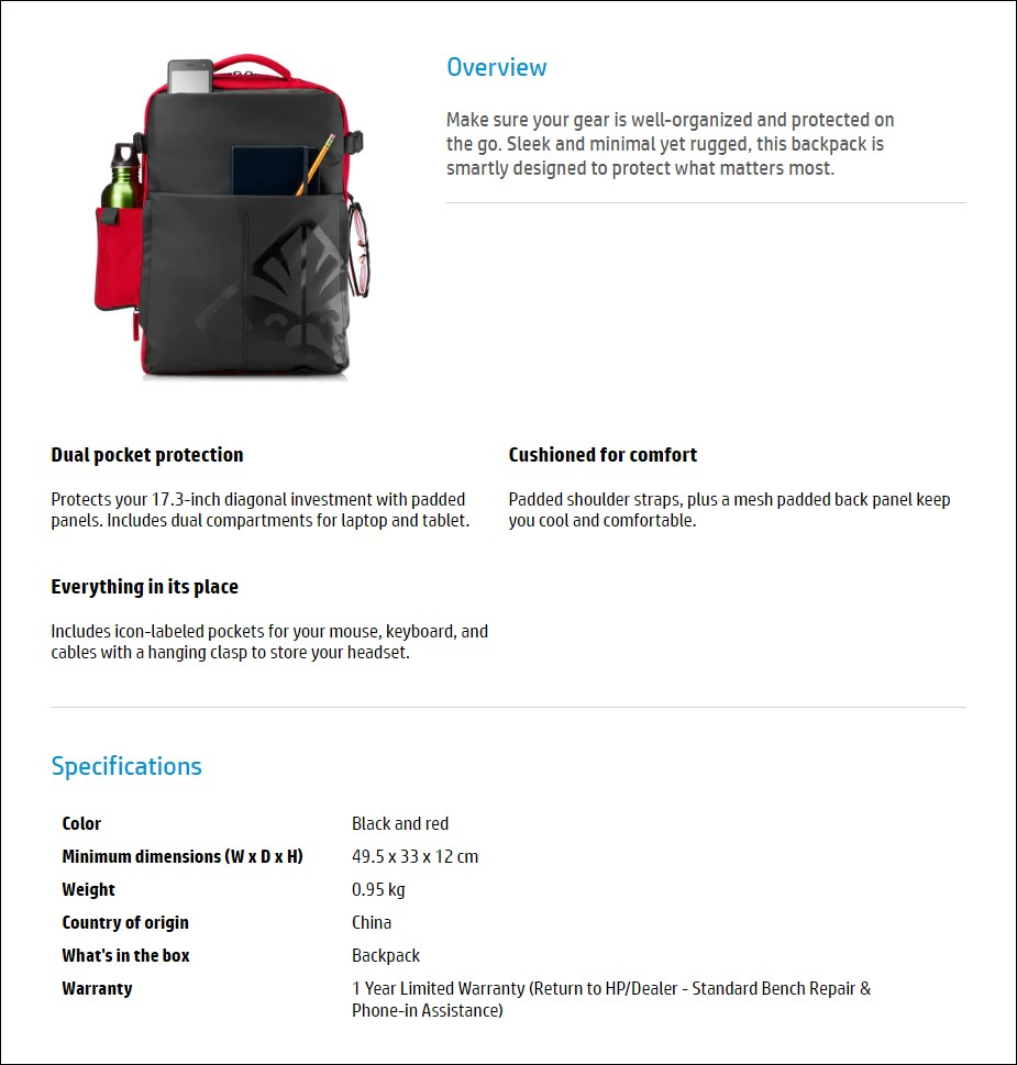 """HP Omen Gaming Backpack for 17.3"""" Laptops - Overview 1"""