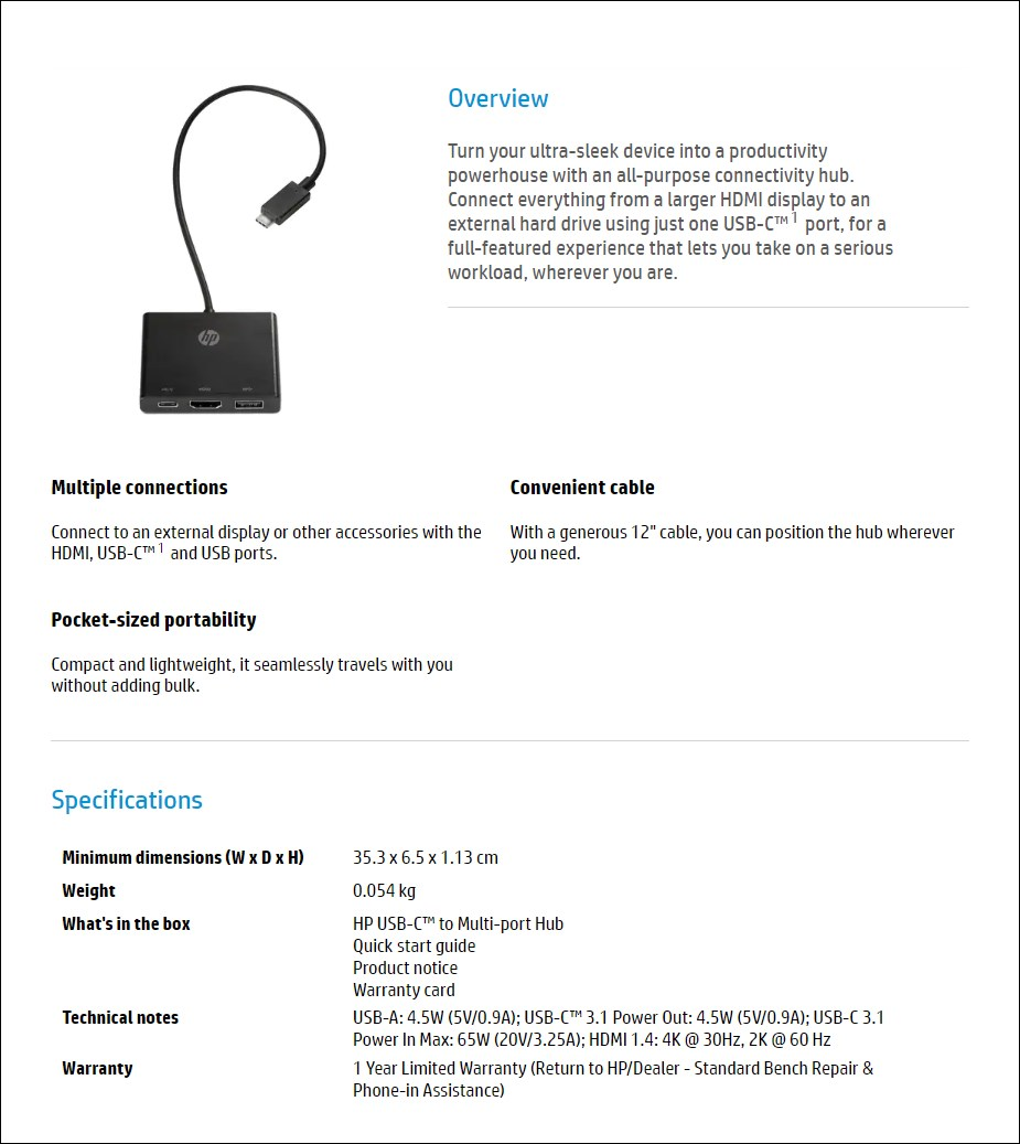 HP USB 3.1 Type-C to Multi-Port HUB - Overview 1