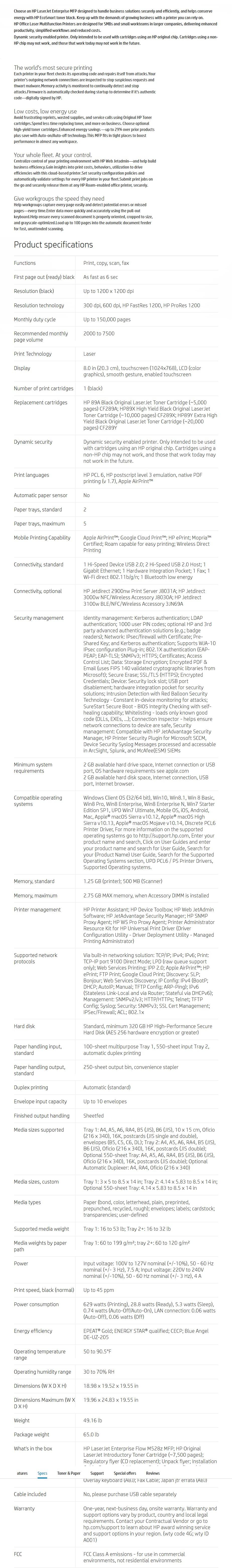 HP LaserJet Enterprise M528z Multifunction Mono Duplex Wireless Laser Printer - Desktop Overview 1