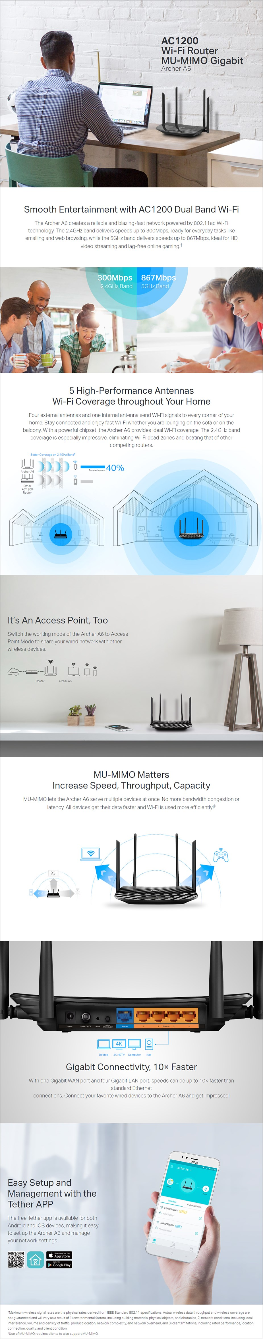 TP-Link Archer A6 AC1200 Dual-Band MU-MIMO Gigabit Router - Overview 1