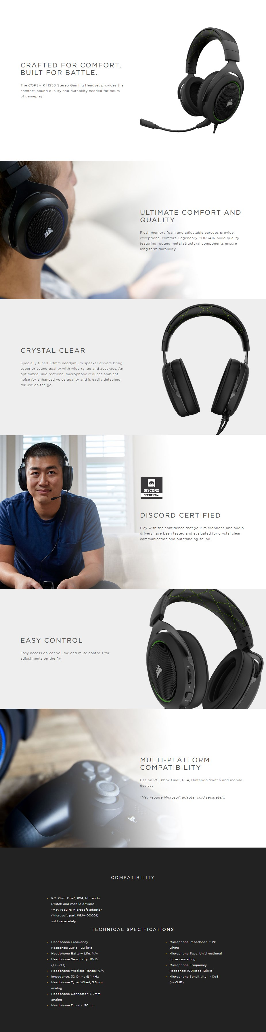 Corsair HS50 Stereo Gaming Headset - Green - Overview 1