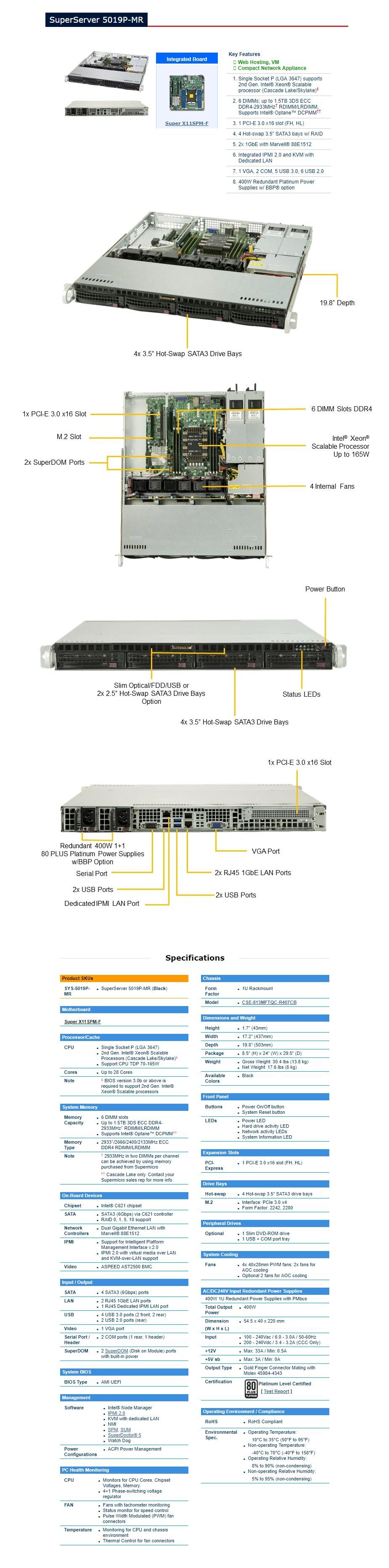 Supermicro SuperServer 5019P-MR Barebone 1U CPU (0/1) RAM (0/6) HDD (0/4) - Overview 1
