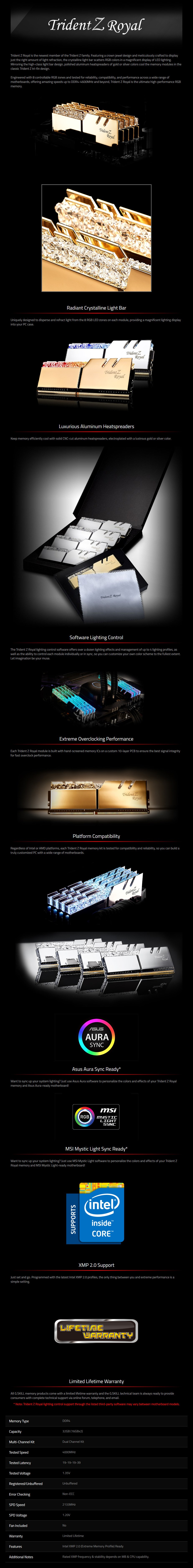 G.SKill Trident Z RGB Royal 32GB (2x 16GB) DDR4 4000MHz Memory - Gold - Desktop Overview 1