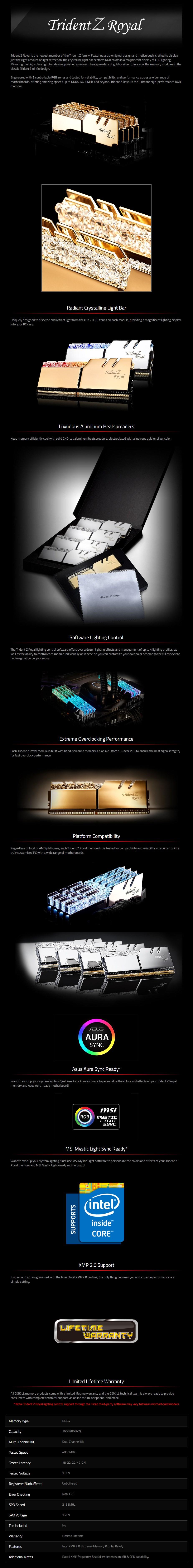 G.SKill Trident Z RGB Royal 16GB (2x 8GB) DDR4 CL18 4800MHz Memory - Silver - Desktop Overview 1