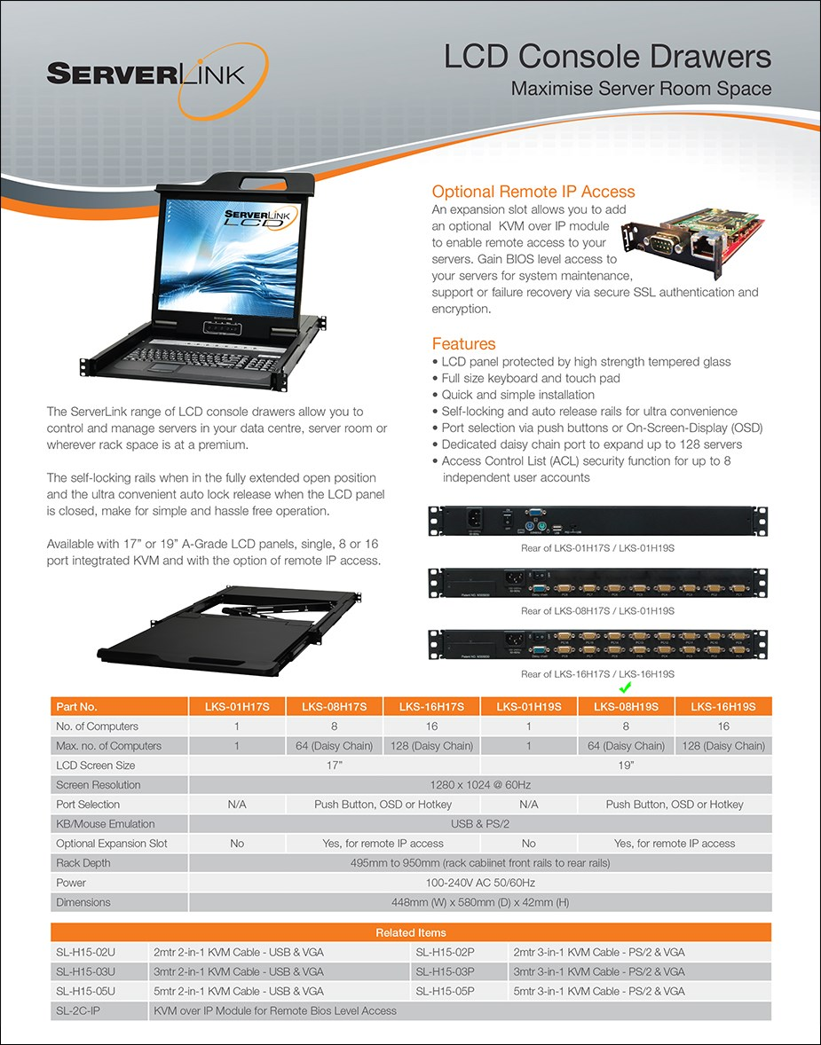 """ServerLink 19"""" 8-Port VGA/USB/PS/2 LCD Console Drawer - Overview 1"""