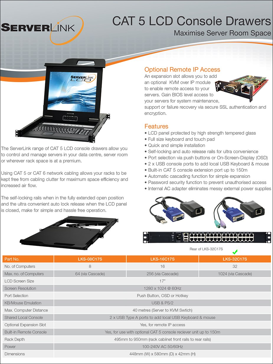 "ServerLink 17"" 32-Port CAT 5 VGA/USB/PS/2 KVM LCD Console Drawer w/ Remote - Overview 1"
