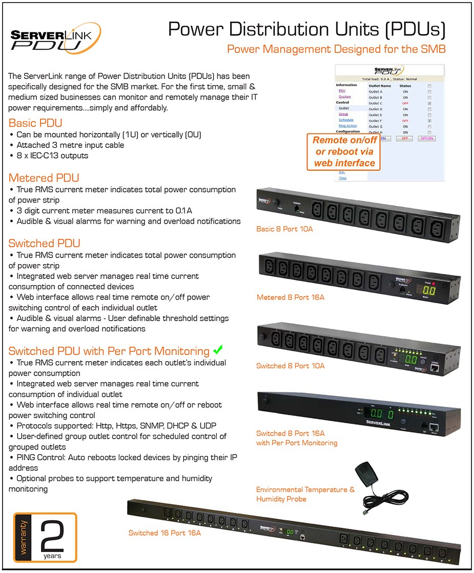 ServerLink 10A Switched 1U 8-Port Power Distribution Unit w/ Per Port Monitoring - Overview 1