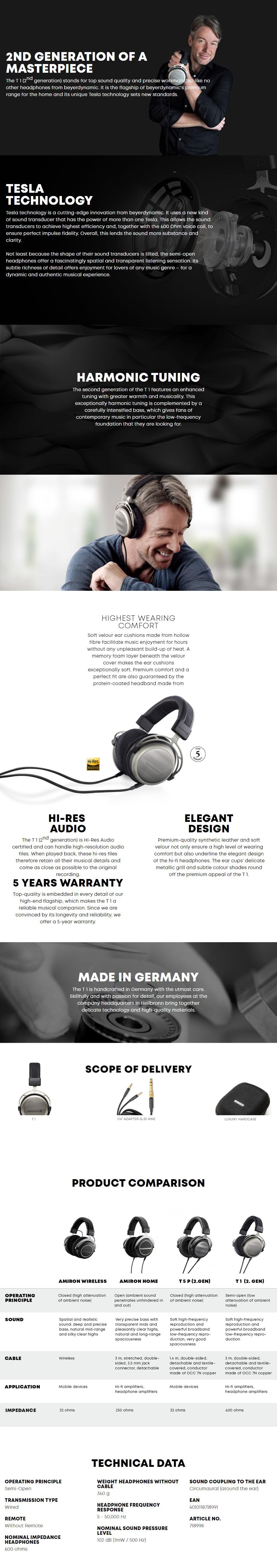 Beyerdynamic T1 Audiophile Semi-Open Hi-Fi Headphones - 2nd Generation - Overview 1