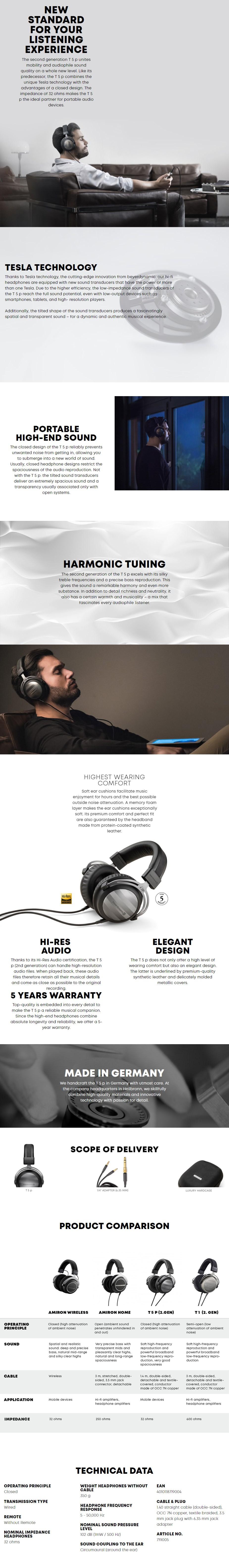 Beyerdynamic T 5 P Audiophile Closed-Back Hi-Fi Headphones - 2nd Generation - Overview 1