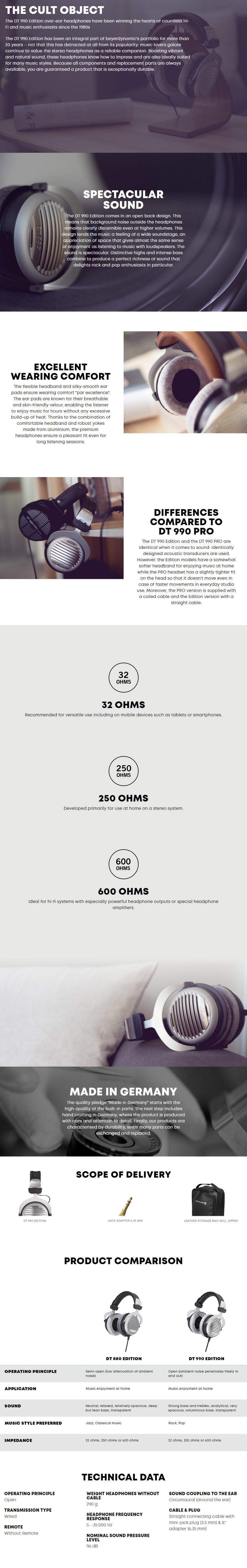 Beyerdynamic DT 990 Edition Semi-Open Back Headphones - 32 Ohms - Overview 1