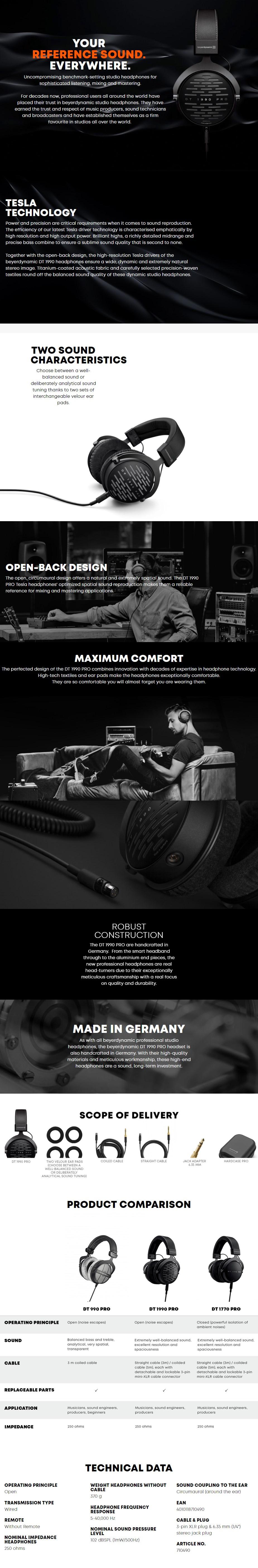 Beyerdynamic DT 1990 Pro Open-Back Studio Headphones - Overview 1