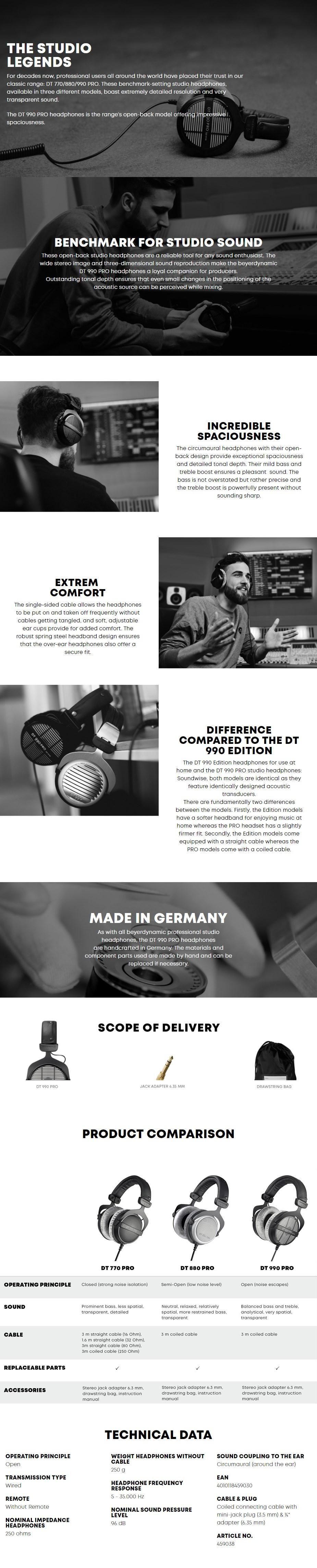 Beyerdynamic DT 990 Pro Open-Back Studio Headphones - Overview 1