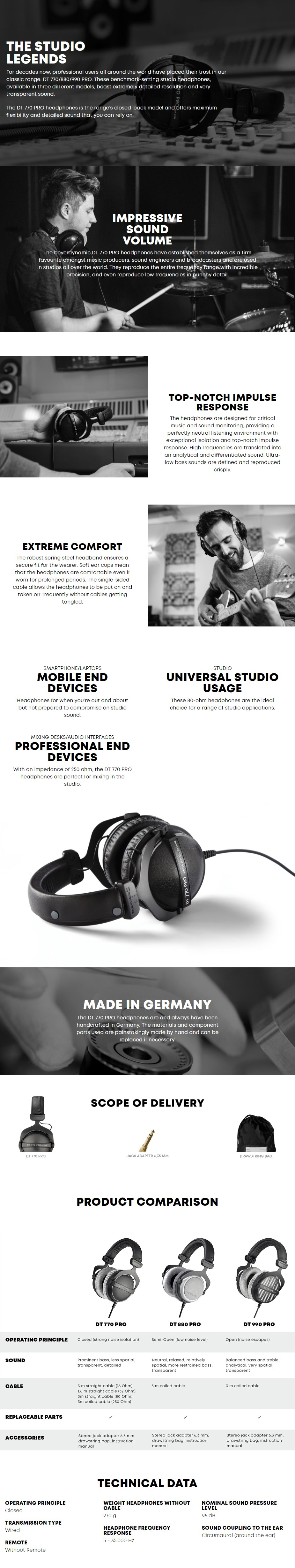 Beyerdynamic DT 770 Pro Closed-Back Studio Headphones - 80 Ohms - Overview 1