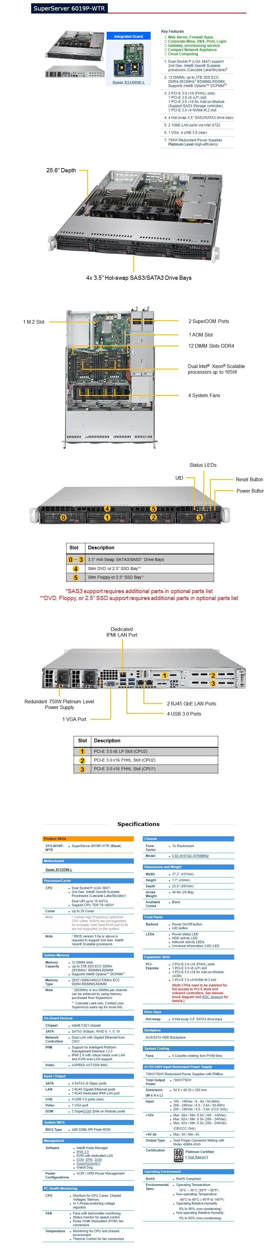 Supermicro SuperServer 6019P-WTR Barebone 1U CPU (0/2) RAM (0/12) HDD (0/4) - Overview 1