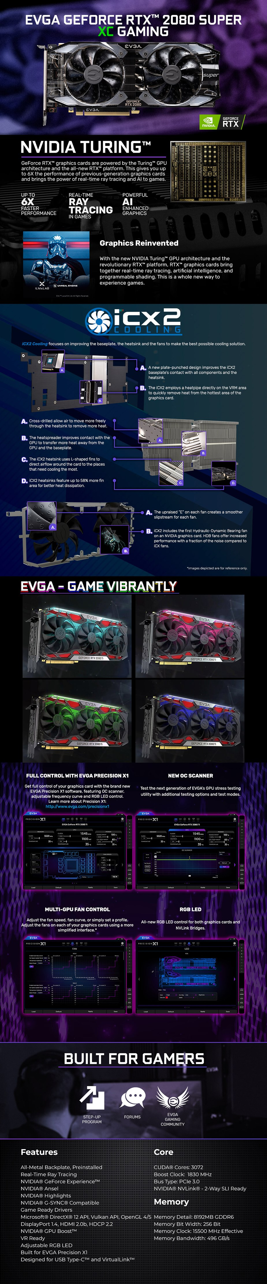 EVGA GeForce RTX 2080 SUPER XC GAMING 8GB Video Card - Overview 1
