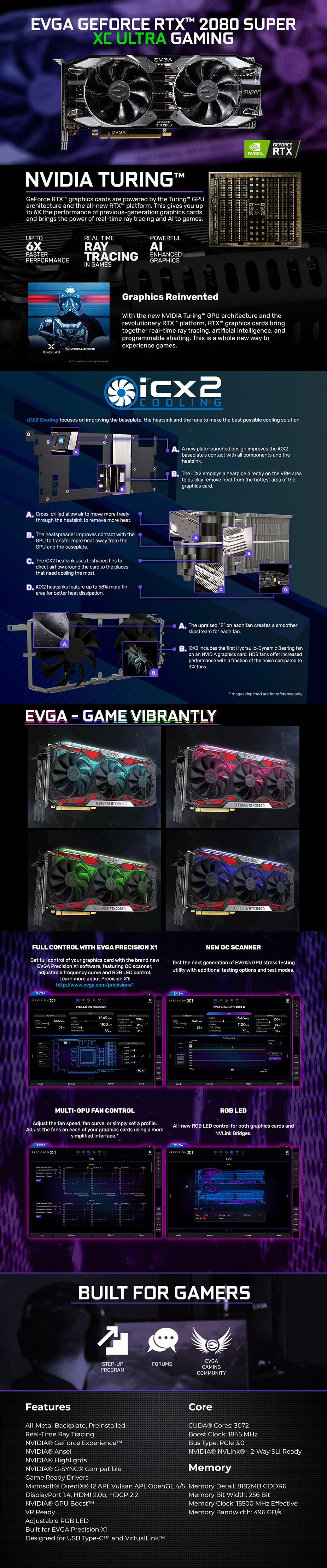 EVGA GeForce RTX 2080 SUPER XC ULTRA GAMING 8GB Video Card - Overview 1