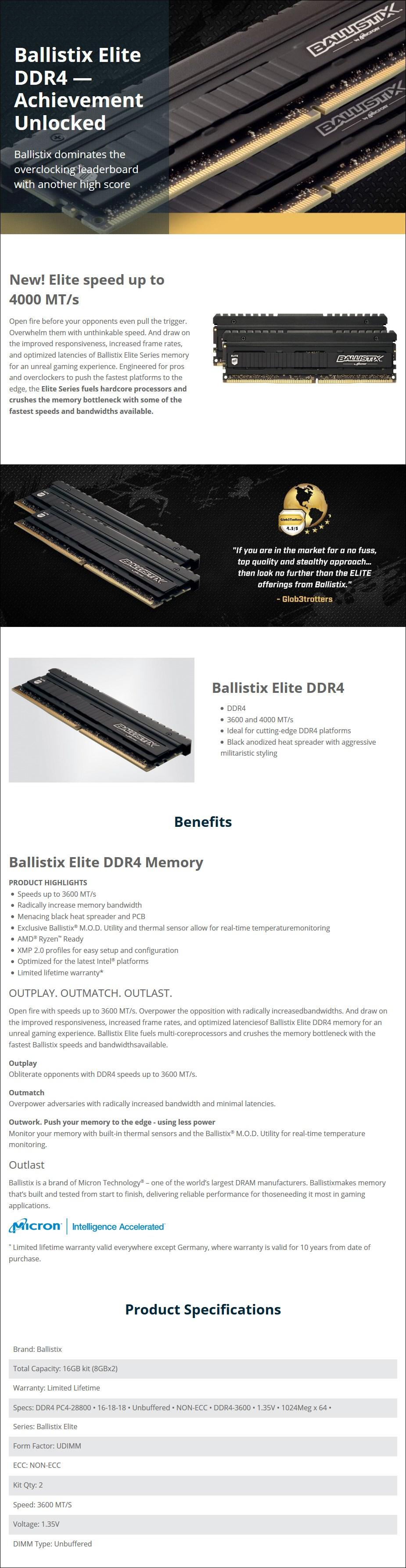 Crucial Ballistix Elite 16GB (2x 8GB) DDR4 3600MHz Memory - Overview 1