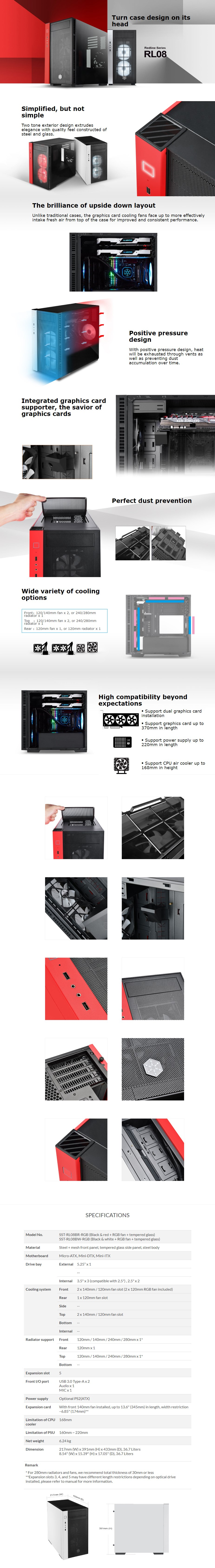 SilverStone RedLine RL08 Micro-ATX Tempered Glass RGB Case - Black and White - Overview 1