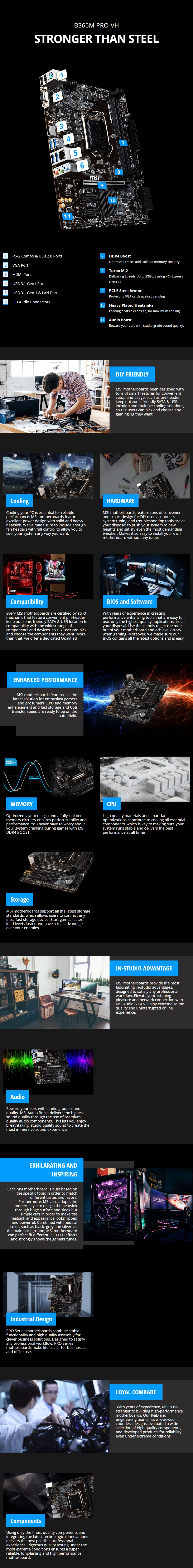 MSI B365M PRO-VH LGA1151 Micro-ATX Motherboard - Overview 1