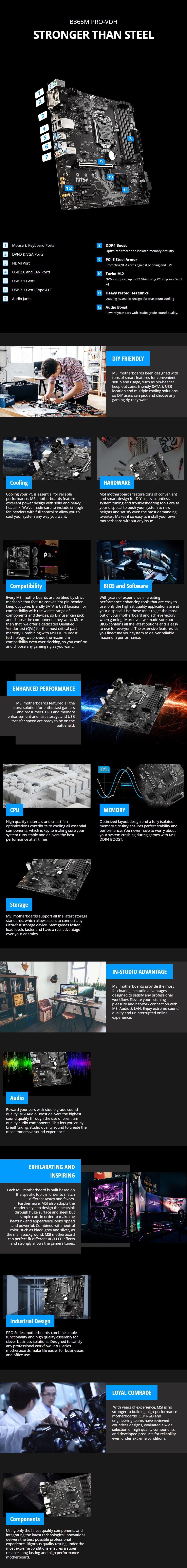 MSI B365M PRO-VDH LGA 1151 Micro-ATX Motherboard - Overview 1