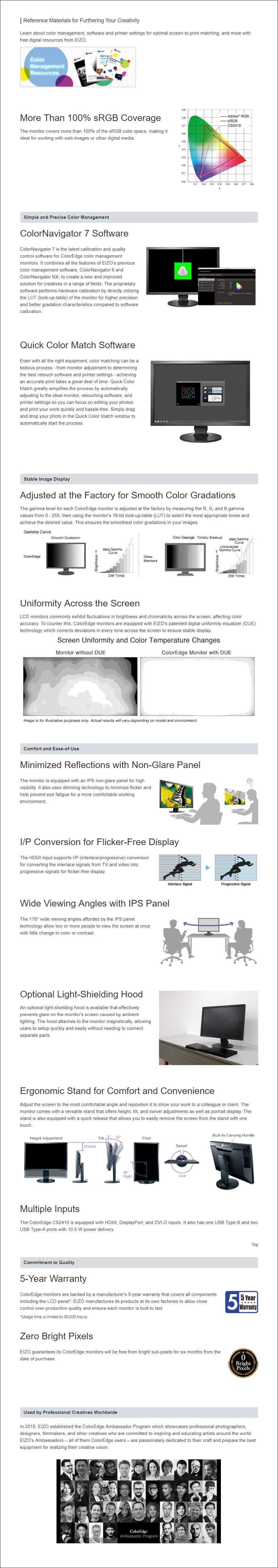 """EIZO ColorEdge CS2410 24.1"""" WUXGA 100% sRGB Calibrated IPS Designer Monitor - Overview 1"""