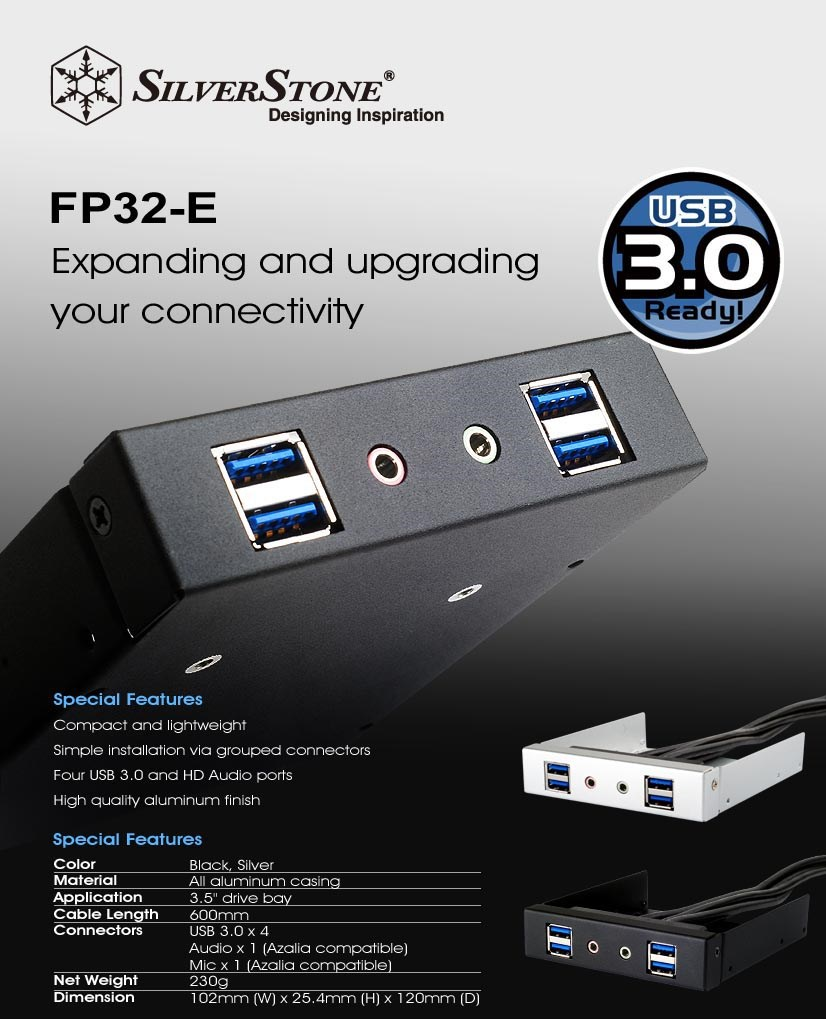 "SilverStone FP32-E USB 3.0 and HD Audio 3.5"" Front Drive Bay Expansion - Black - Overview 1"