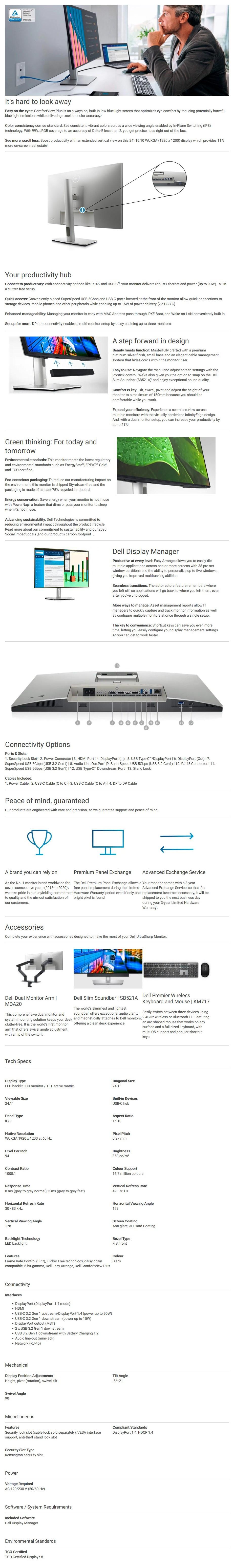 """Dell UltraSharp 24.1"""" 60Hz IPS LED Monitor - Overview 1 Desktop"""