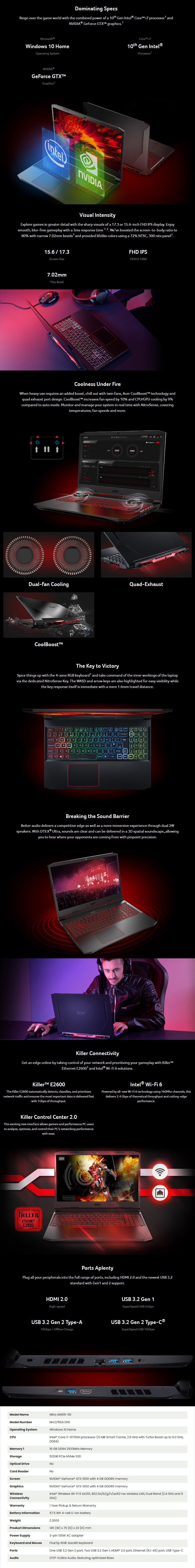 """Acer Nitro 5 15.6"""" Laptop i7-10750H 16GB 512GB GTX1650 Win10 Home - Overview 1"""