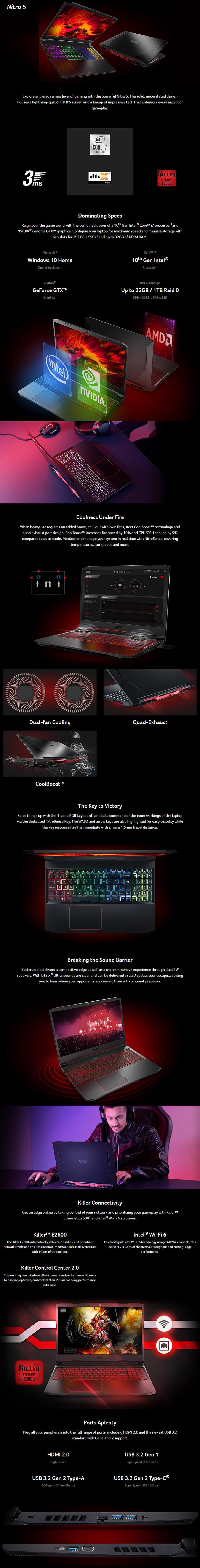"Acer Nitro 5 15.6"" Laptop i7-10750H 16GB 512GB GTX1650Ti Win10 Home - Overview 1"