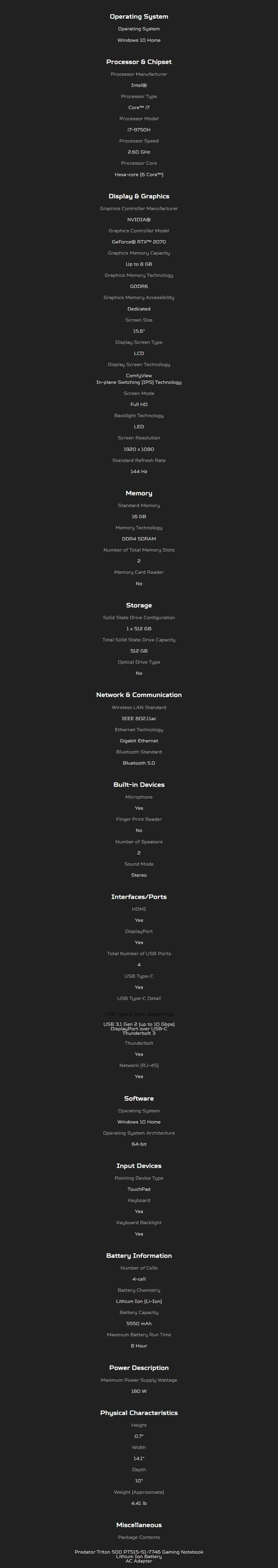 "Acer Predator Triton 500 15.6"" 144Hz Gaming Notebook i7-9750H 16GB 512GB RTX2070 - Overview 2"