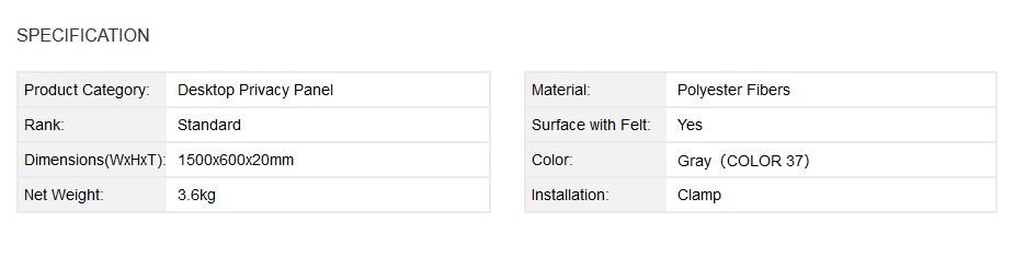 Brateck Acoustic Desktop Privacy Panel with Felt Surface - Desktop Overview 1