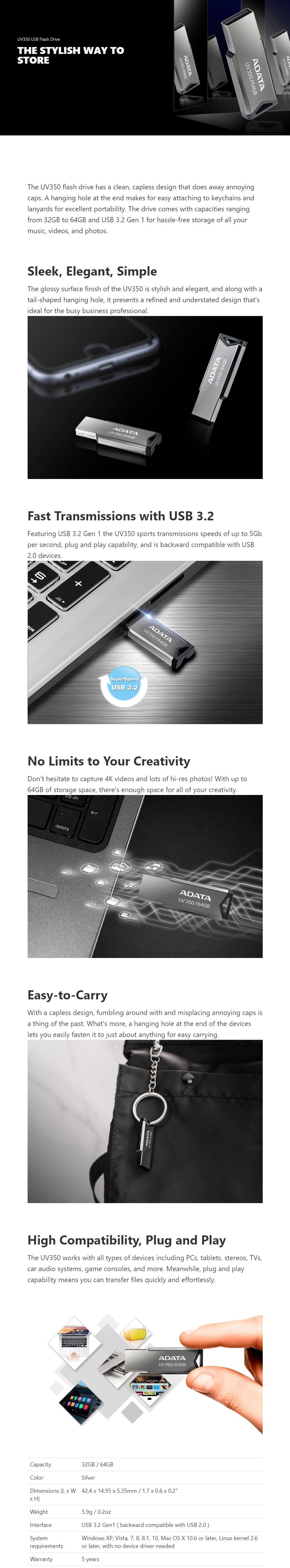 ADATA 64GB UV350 USB 3.2 Flash Drive - Silver - Overview 1