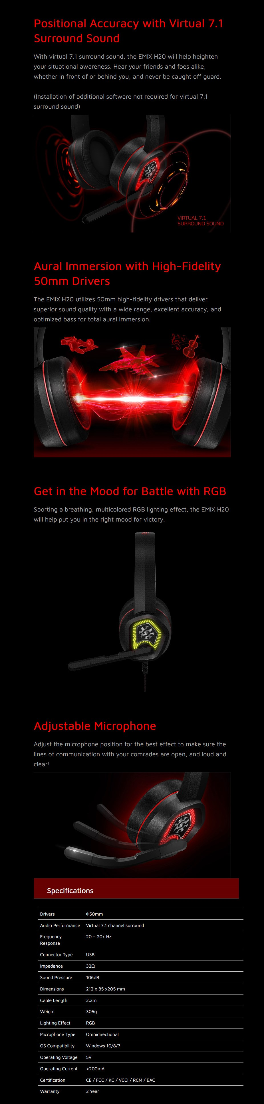 ADATA EMIX H20 Virtual 7.1 Surround Sound Gaming Headset - Overview 1