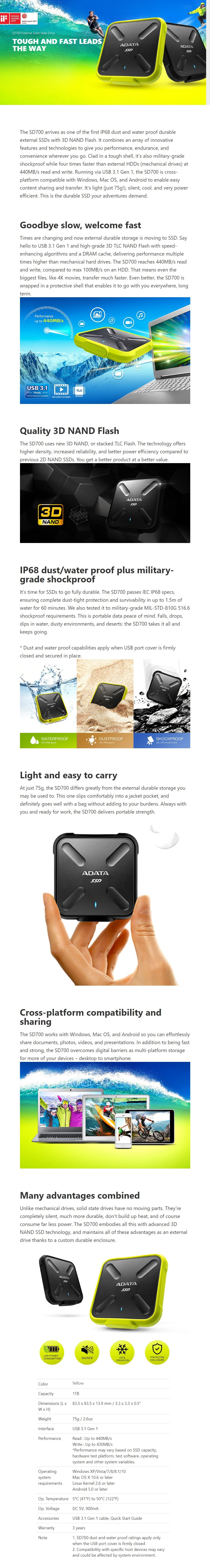 Adata SD700 1TB USB 3.1 Portable External Rugged SSD Hard Drive - Yellow - Overview 1