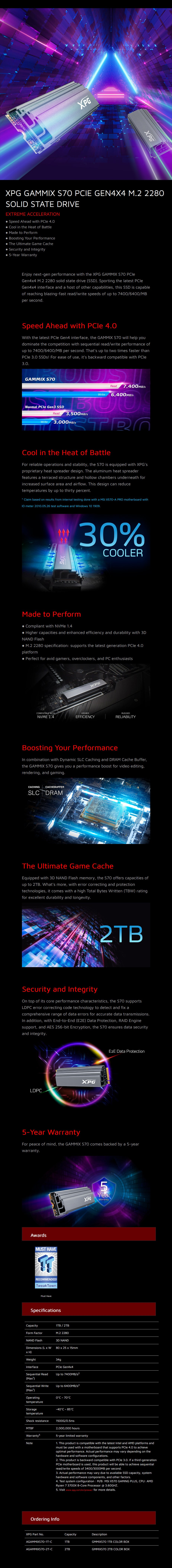 ADATA XPG GAMMIX S70 2TB M.2 PCIe Gen4x4 SSD AGAMMIXS70-2T-C - Desktop Overview 1