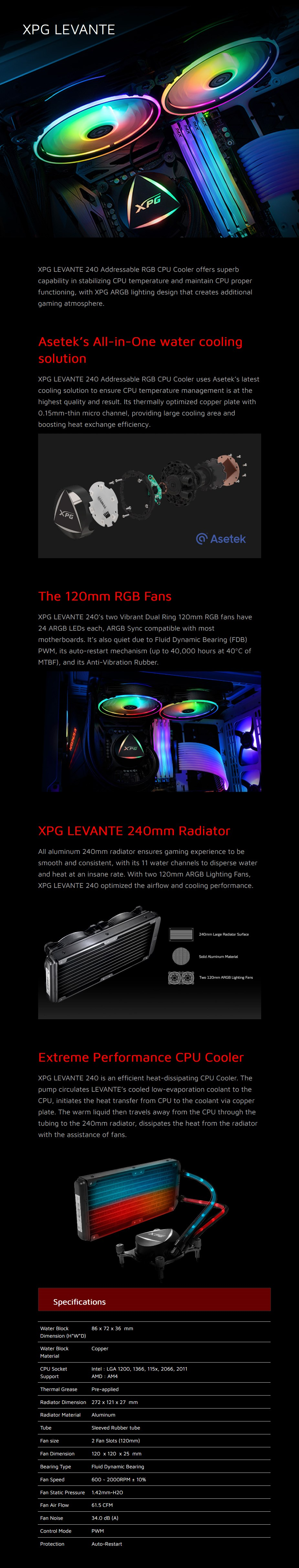 ADATA XPG Levante 240 ARGB LED 240mm All-in-One Liquid CPU Cooler